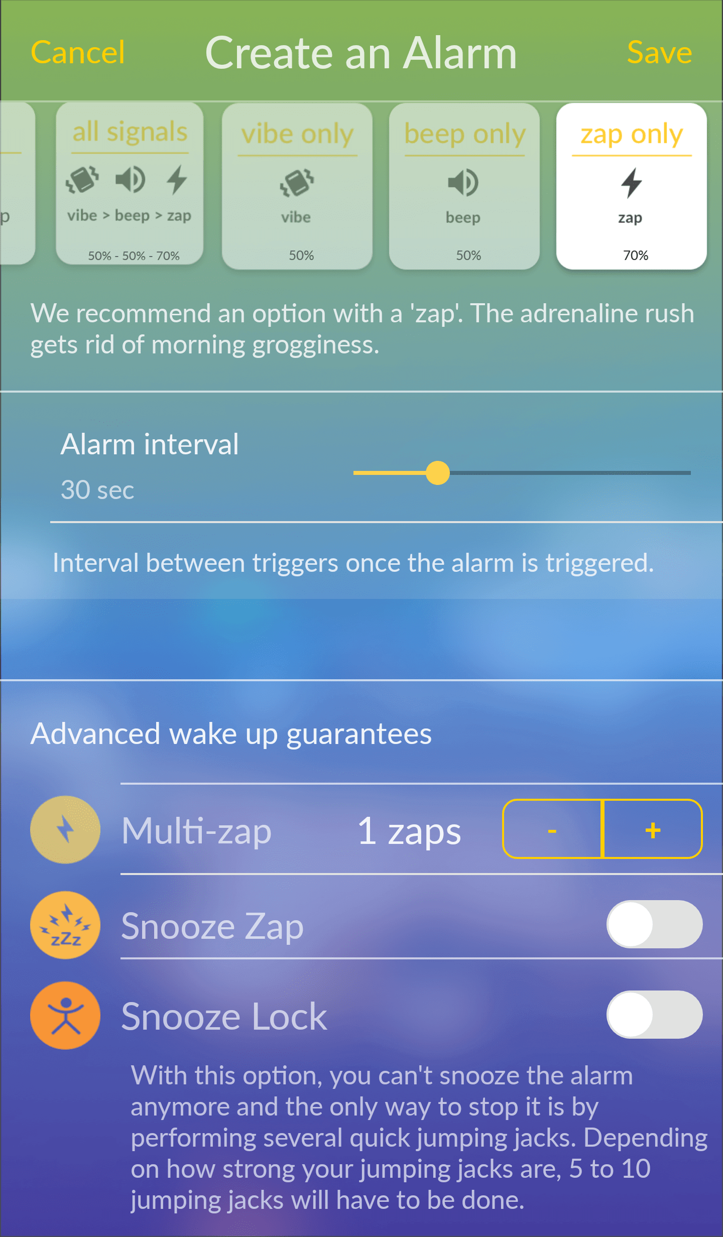 Pavlok Application:Jumping Jacks Alarm